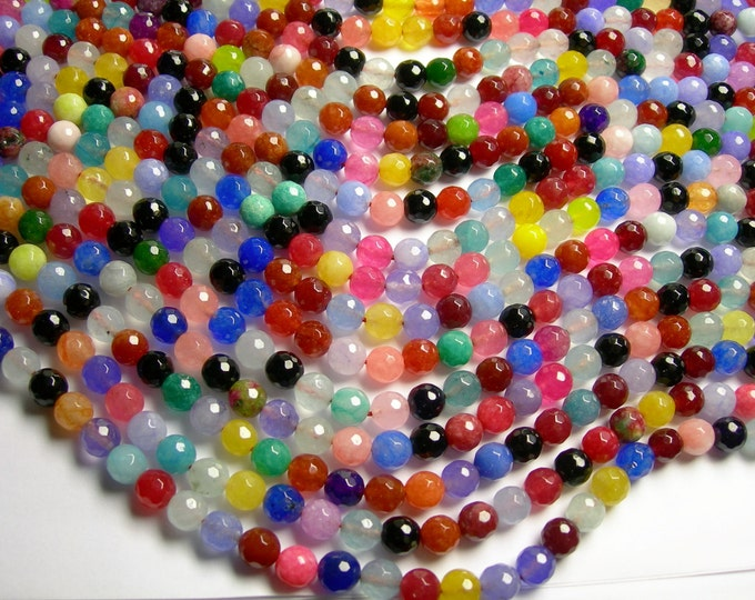 Jade - 8 mm faceted round beads -1 full strand - 48 beads -  Color jade - multicolor mix Jade  - JDC6