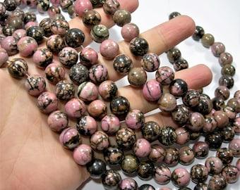Rhodonite - 12mm round - full strand - 33 beads - RFG1722
