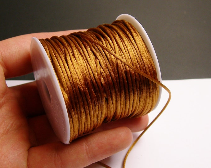 Satin Rattail Cord - knotting/beading cord -1.5mm - 65 meter - 213 foot - light brown - SSC30