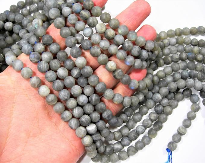 Labradorite matte - 8 mm beads - full strand - 48 beads -  RFG1514