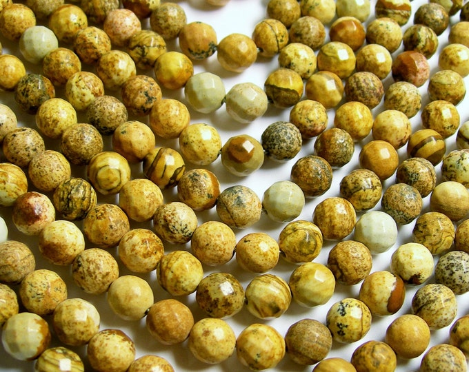 Picture Jasper - 8 mm faceted round beads -1 full strand - 48 beads - RFG354