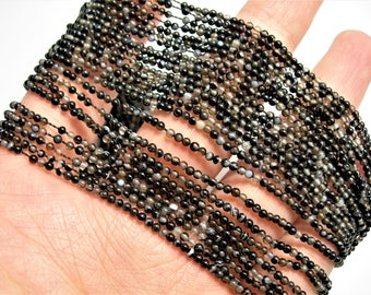 Sardonyx Agate 2mm round  beads - 1 full strand - 200 beads per strand - A quality - Black Sardonyx agate - PG118