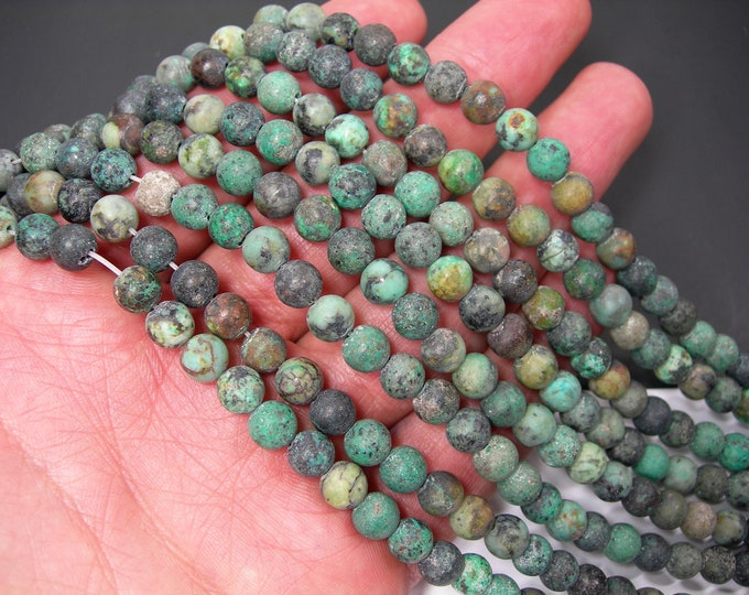 Turquoise  African 6mm(6.4mm) round - matte -  full strand  59 beads - RFG1288