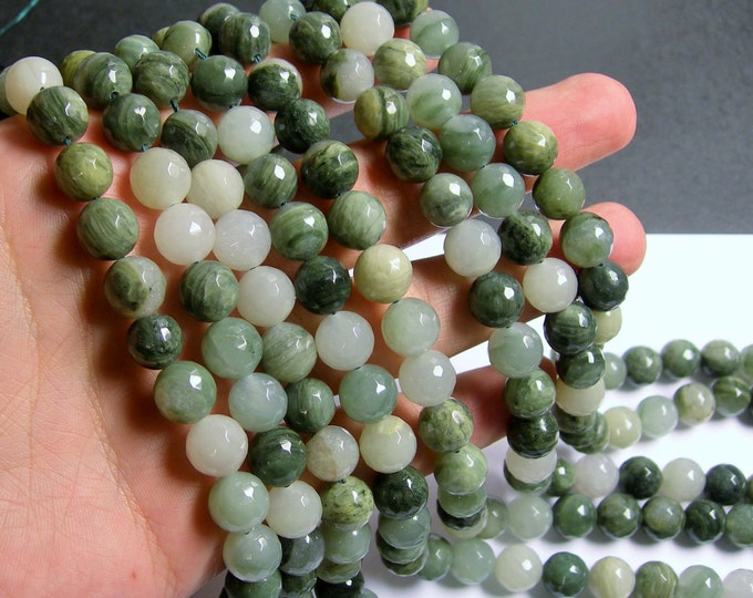 Green line quartz - 10mm faceted round beads -1 full strand - 38 beads - A quality - RFG476