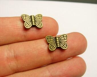 Butterfly beads - 50 pcs - antique bronze butterfly - brass butterfly - BAZ109
