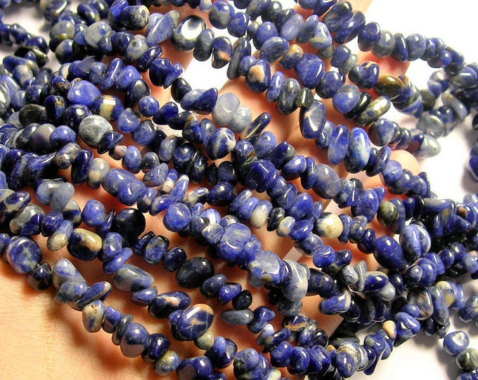 Sodalite - chip stone rounded pebble beads - 36 inch strand - WHOLESALE DEAL - PSC339