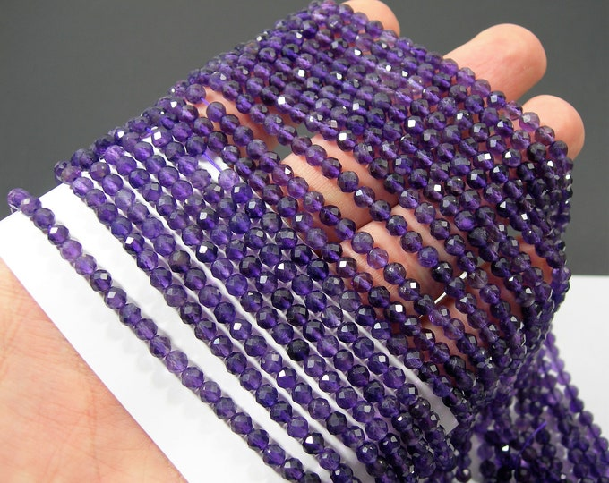 Amethyst - 4mm micro faceted round beads - full strand - 93 beads  - Amethyst gemstone - PG363