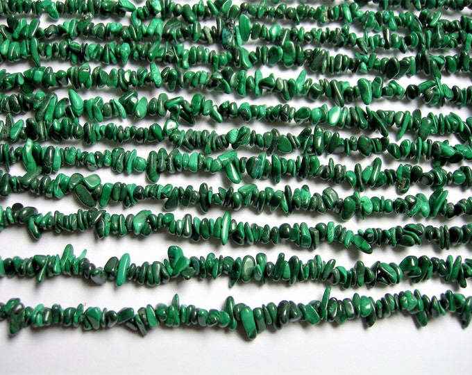 Malachite Gemstone - chip stone - 4mm - full strand - Genuine Malachite - PSC313