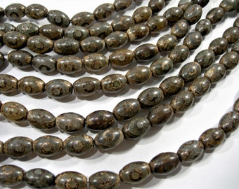 Tibetan Agate 10x14mm  beads - full strand - 28 beads -  Dzi beads puff tube antique style - RFG1763