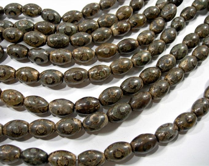 Tibetan Agate 10x14mm  beads - full strand - 28 beads -  Dzi beads puff tube antique style - RFG1763