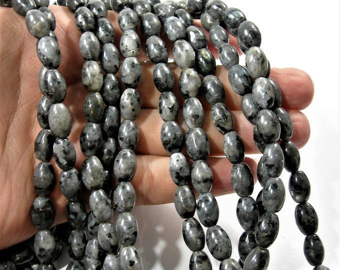 Larvikite 8mmx12mm  tube - black labradorite - full strand - 33 beads - RFG1629