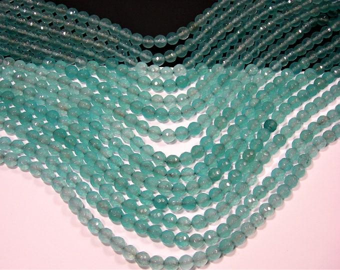 Jade - 8 mm faceted round beads - full strand - 48 beads - aquamarine Jade - RFG1995