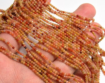 Mix rutilated quartz - 2mm faceted round beads - 1 full strand - 188 beads - 16 inch - 40 cm - Micro Faceted - AA Quality - PG122