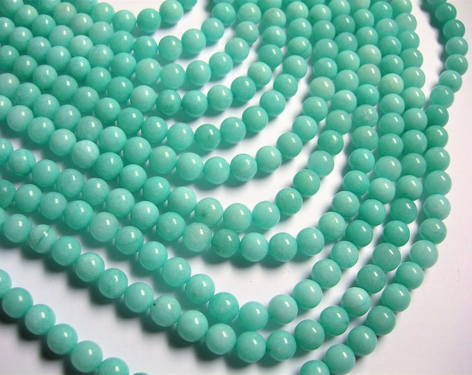 Jade 8 mm round beads - full strand of 48 beads - Blue Color jade - JDC43