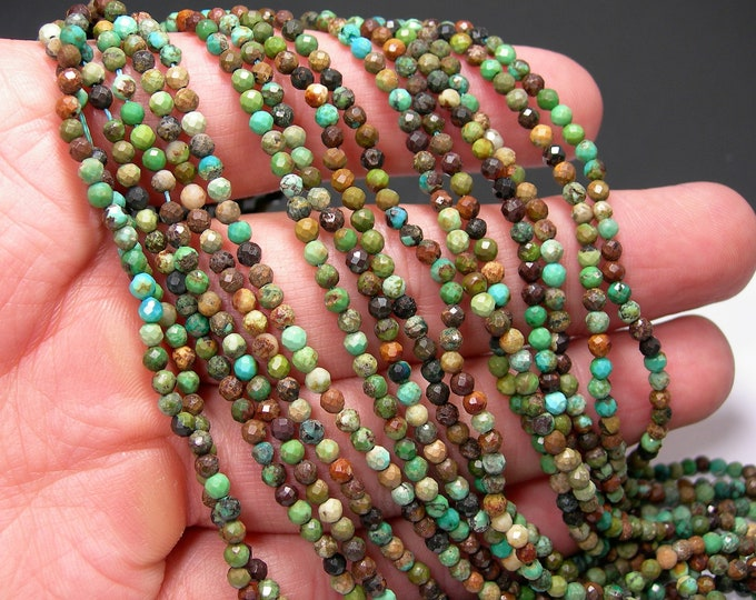 Turquoise - 3mm (2.8mm) faceted beads - full strand - 141 beads - Turquoise gemstone - Micro Faceted - PG316