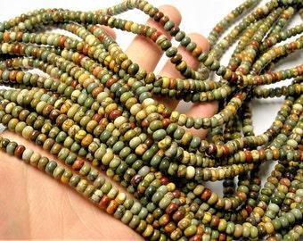 Red creek jasper -  mm rondelle - 99 beads - full strand - A quality - Picasso jasper - 6mmx4mm - RFG1463