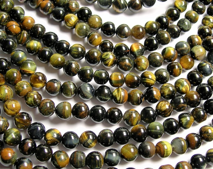 Blue yellow Tiger eyes - 8 mm round beads - full strand - 47 beads - good value - Wholesale deal - RFG1368