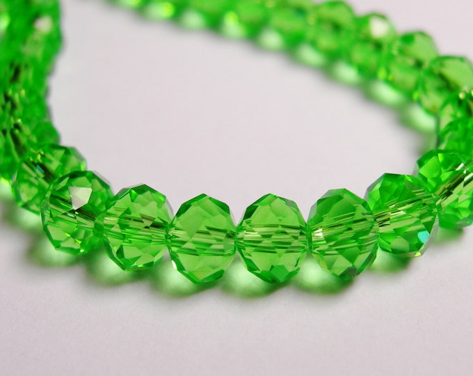 Crystal faceted rondelle -  98 pcs -  6 mm - AA quality - green - full strand - CRV101