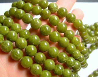 Olive jade - 10mm round - A quality -  40  beads - full strand  - RFG796