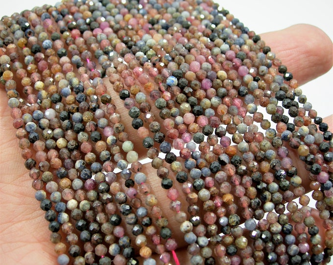 Ruby Saphire  - 2.4mm micro faceted round beads -  full strand  - 153 beads - Natural ruby  - PG199