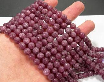 Purple sponge quartz - 8 mm round beads - full strand - 48 beads - A quality - RFG2096
