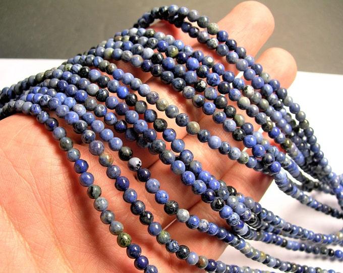 Dumortierite - 4 mm round beads -1 full strand - 98 beads - RFG1398