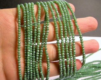 Crystal - rondelle faceted 3.5mm x 2.7mm - 145 beads - Green ab - full strand - AA quality - MAC29