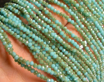 Crystal - rondelle faceted 3.5mm x 2.5mm beads - 145 beads - turquoise - dual tone - full strand - CRV77
