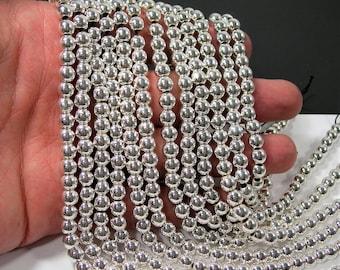 Silver Hematite - 6mm(5.8mm) round beads - full strand - 71 beads - RFG2116