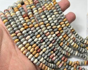 Sky eye Jasper- 6mm rondelle - full strand - 93 beads per strand - 4mm x 6mm - RFG1636