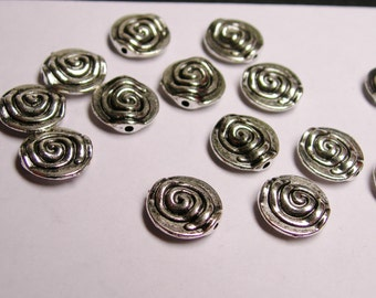 25 Antique Silver beads - 25 pcs - nice engraved round spiral silver beads - NAZ37
