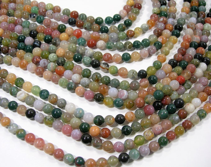 Indian agate 6mm(6.5mm) round beads -  60 beads - full strand - AA quality - light tone - WHOLESALE DEAL - RFG1853