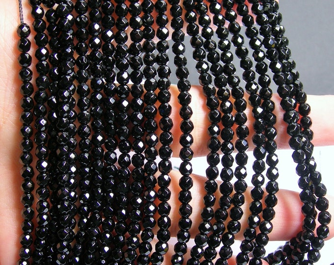 Black Onyx - 4 mm faceted round beads -1 full strand - 97 beads - AA quality - RFG546
