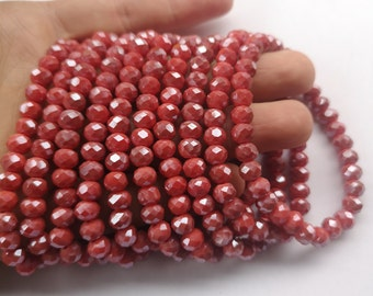 Crystal elastic - 30 beads - 8mm(7.5mm) - 1 set - Orange Red - HSC2
