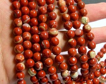 Red Jasper - 8mm round beads -  full strand - 48 beads - matrix red jasper - RFG485