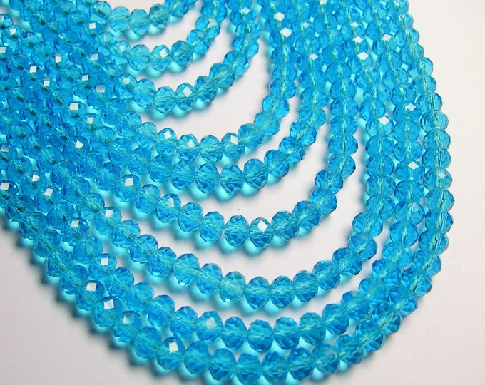 Crystal faceted rondelle - 98 pcs - 6 mm  - Blue - full strand - CRVW139