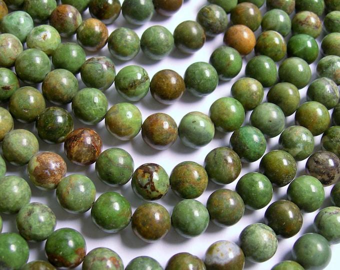 Green opal Chalcedony - 10mm round beads - full strand - 40 beads -- RFG439