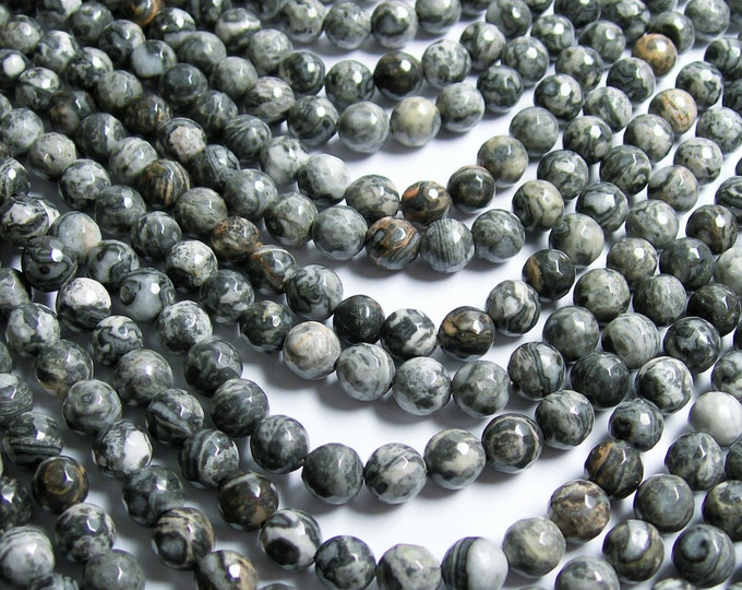 Picasso Jasper - 8mm faceted round - 48 beads - full strand strand - A quality - RFG362