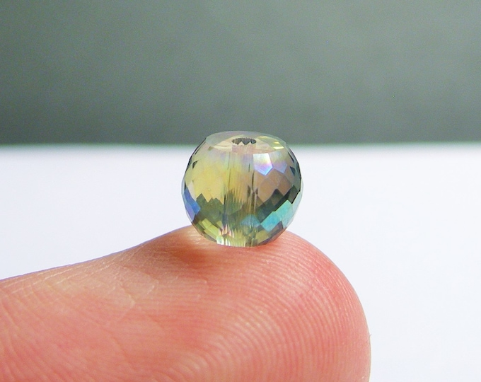 Crystal faceted rondelle barrel - 20 pcs - 8mm x 6mm - AA quality - Aqua sparkle ab - BCR9