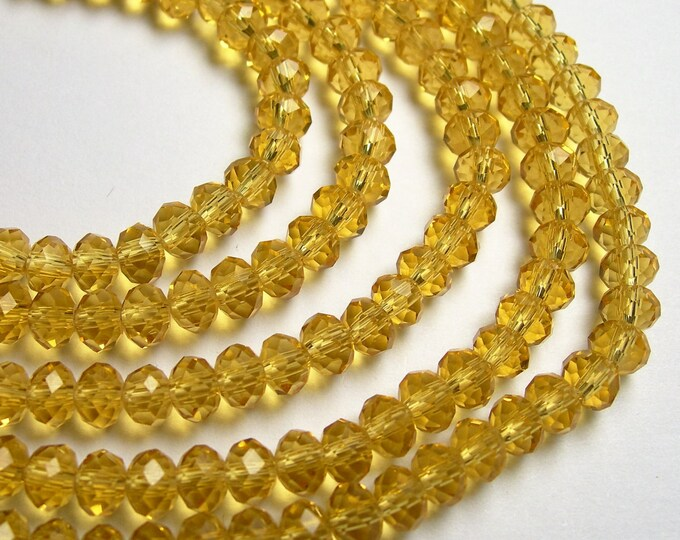 Crystal faceted rondelle - 100 pcs - 6 mm - 18 inch strand - yellow citrine color - WHOLESALE DEAL - CRV146