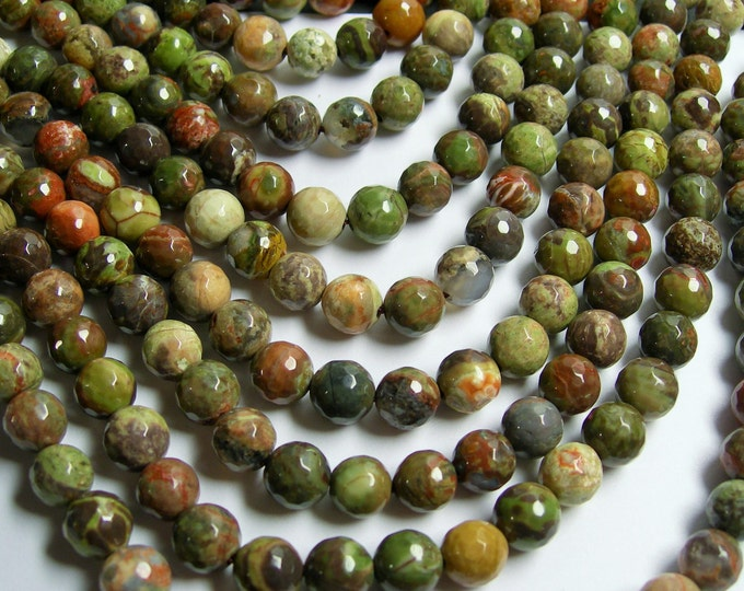 Rainforest jasper - 8 mm faceted round beads - 48 beads - Rhyolite rainforest - A Quality - RFG374