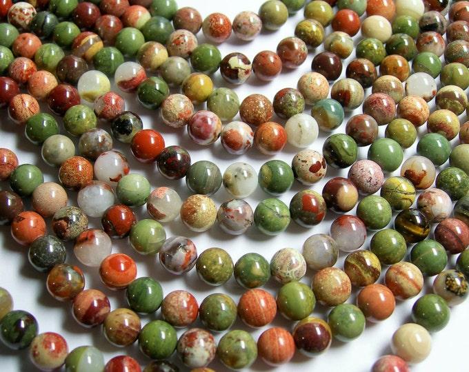 Silver leaf Jasper - 8 mm round beads -1 full strand - 49 beads - A quality - RFG373