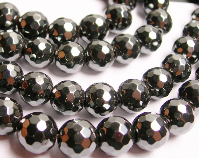 Hematite - 10mm faceted  beads - full strand - 43 beads - AA quality - CHG20