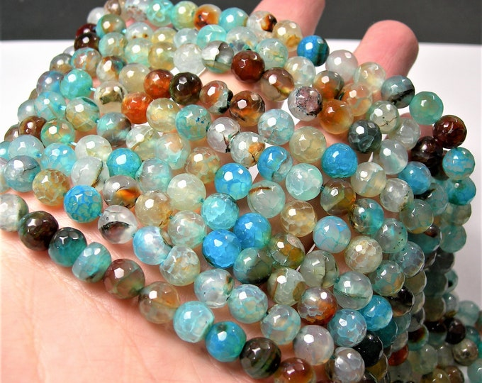 Blue crackled agate - 8mm faceted  round beads - full strand - 47 beads - Aqua blue fire crackle agate -  RFG1589