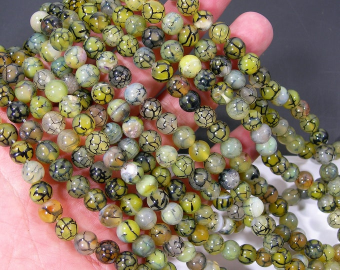 Green Dragon Vein Agate bead - 8mm  round -  full strand - 48 beads -Green Spiderweb agate - RFG2093