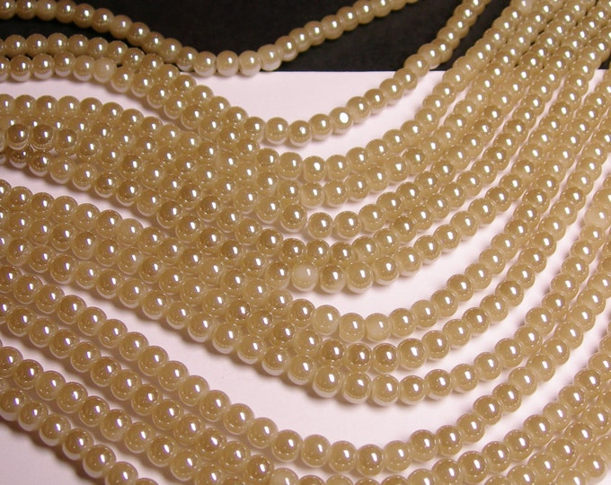 Crystal - round - 6mm - light beige - full strand - 53 beads - pearlized - N5A