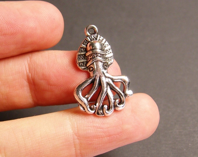 6 octopus charms - 6 pcs - silver tone octopus charms - ASA39