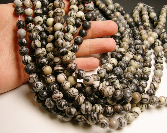 Silk Stone - 10 mm - round bead - 41 beads - full strand - Spider Jasper - RFG1021
