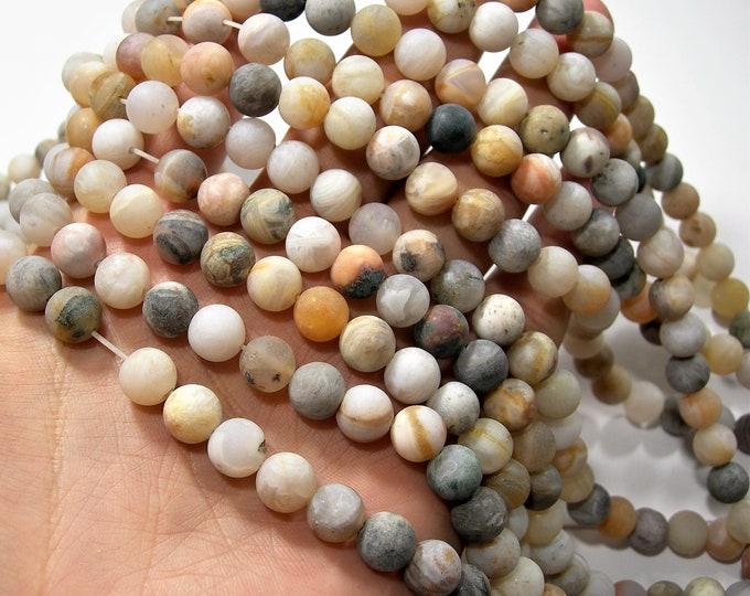 Bamboo Leaf agate matte - 8mm(8.5mm) round beads -  full strand - 46 beads - light tone  - RFG1728