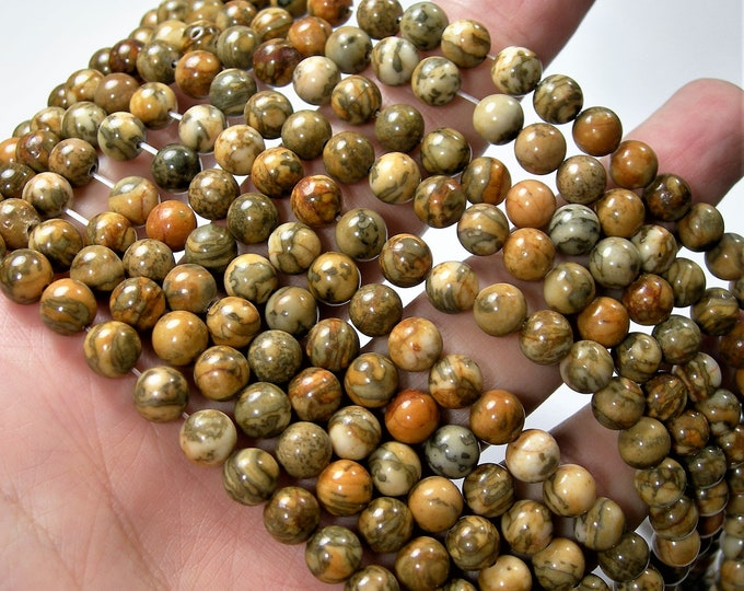 Tiger tail Jasper 6 mm(6.6mm) round beads - full strand - 59 beads - A quality - RFG1674